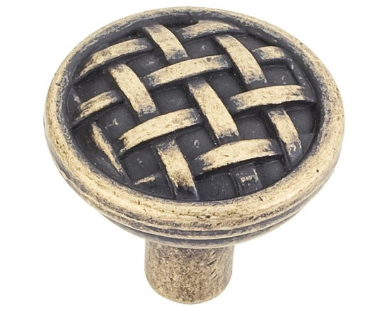 Jeffrey Alexander 3171-ABM-D Cabinet Knob - Small - Ashton Series - Distressed A - This distressed antique brass finish round cabinet knob with braided design is a part of the Ashton Series from Jeffrey Alexander. A perfect blend of craftmanship in traditional and contemporary design to complement any decor.