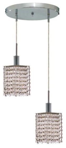 "Wiatt 2-Light 9"" Crystal Ceiling Pendant 1090D-R-S-CL-RC contemporary-pendant-lighting"