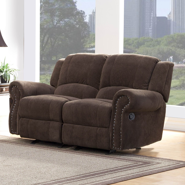Homelegance Quinn Double Glider Reclining Loveseat In Brown Bomber Jacket Traditional Love