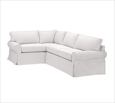 PB Basic Right 3 Piece Small Sectional Slipcover Textured