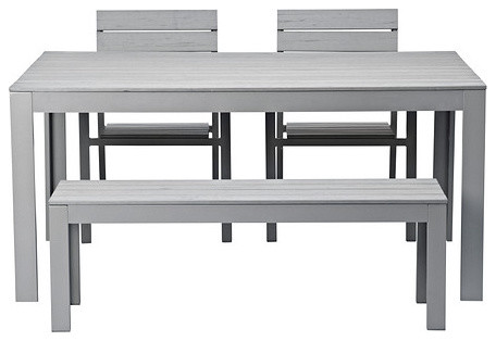 FALSTER Table, Bench And Two Armchairs, Gray contemporary patio furniture and outdoor furniture