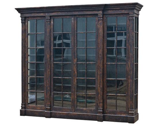 Marco Polo Imports - Nikola Large Bookcase - Elegant large wooden bookcase with four doors and a nostalgic acorn finish.
