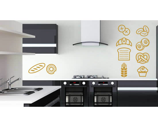 Pack wall stickers - Fat kids unite! This set called pastry goodies wall decal contains all of your beloved pastries - from croissants, to muffins to donuts - this self-adhesive wall sticker is a delicious way to decorate your home or office. Yum!