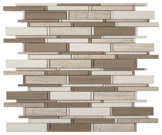Athen Gray & Thassos White Mix Random Bricks Brown Cascade Series Polished Stone modern-tile
