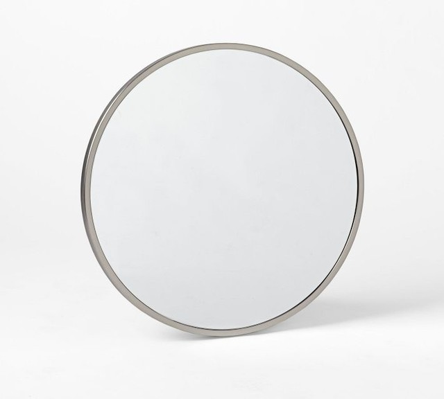 Metal Round Wall Mirror Brushed Nickel Contemporary