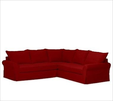 PB Comfort Roll-Arm 3-Piece L Shaped Sectional Slipcovers, Twill Sierra Red - Traditional ...