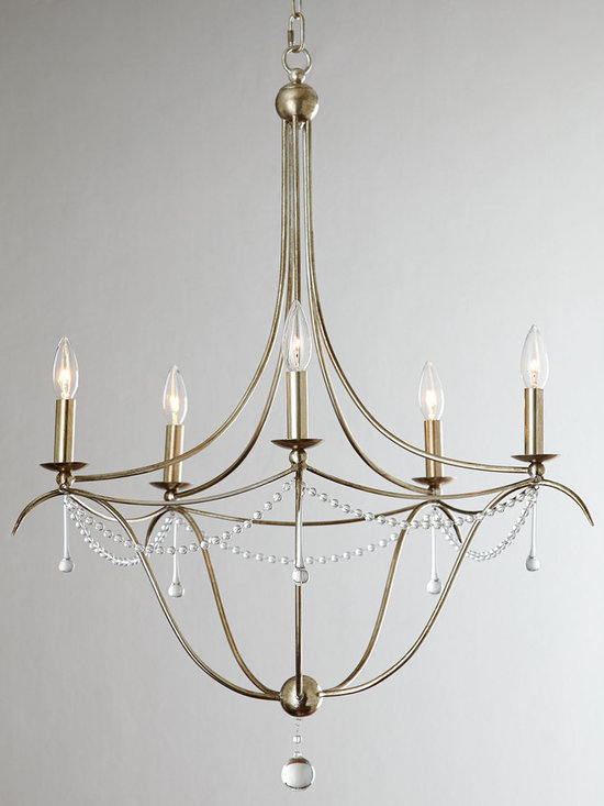 Lighting - This chandelier proves the power of understatement with its clean lines perfectly enhanced by a single strand of beads and a few drops.