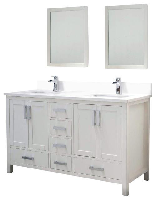 Adornus Astoria 60 W Q White Vanity Transitional Bathroom Vanities And Sink Consoles By