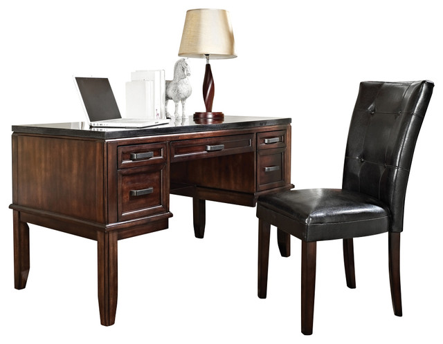 Steve Silver Chamberlain Black Granite Top Writing Desk with Parsons Chair traditional-home-office-accessories