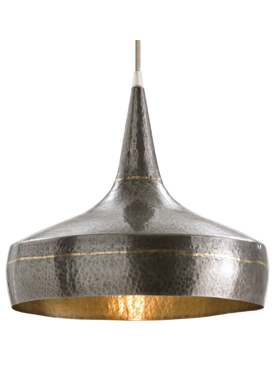 Arteriors Mason Wide Pendant - Mixed metal hammered iron pendent with dark silver exterior accented with brass stripes. Silver mesh cord.