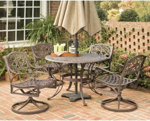 Home Styles Biscayne 48 in. Bronze Swivel Patio Dining Set - Seats ...