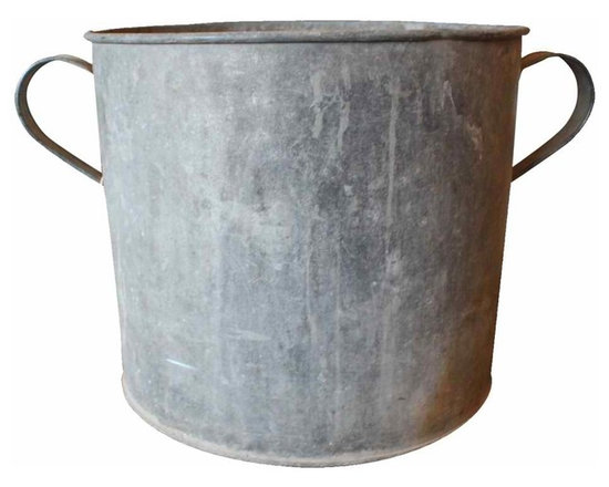 Zinc Bucket - Fantastic wear and patina on these vintage buckets. We love the versatility of these rustic buckets - store firewood, bathroom linens, or toys in these stylish, rustic buckets.