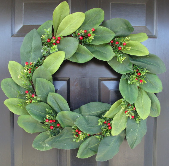 Magnolia Christmas Wreath by Elegant Holidays modern-wreaths-and-garlands
