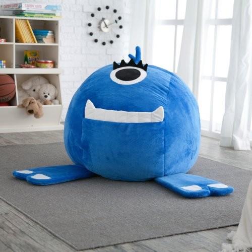 Jaxx fluffy monster critter foam bean bag chair blue for Kids fluffy chair
