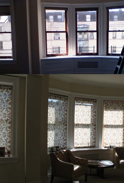 Before And After Bay Windows With Interior Mounted Custom Solar Shades Eclectic Living Room