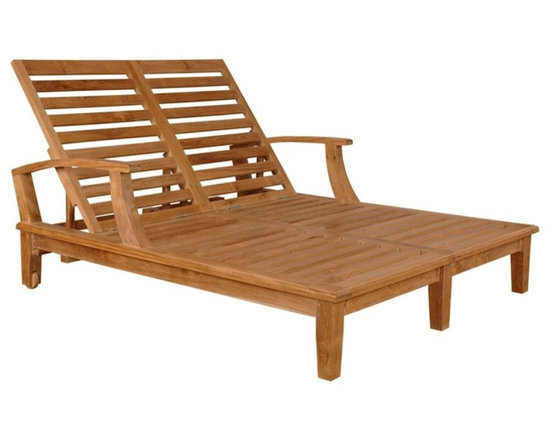 """Anderson Teak - Brianna Double Sun Lounger with Arm - Our most popular piece, the Sun Lounger has been called by some, """"The most comfortable Sun Lounger they have ever relaxed in."""" Perfect for poolside reading in the sun. This Sun Lounger adjusts to four different positions, including completely flat. With its solid teak wheels, it can be easily moved in or out of the sun. Cushion is optional and is being made by order."""