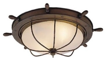 Vaxcel Two-Light Nautical Flush Mount Ceiling Light, Antique Red Copper beach-style-flush-mount-ceiling-lighting