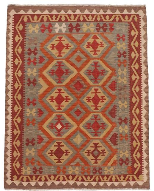 Flat-Weave Wool Izmir Kilim, Orange traditional-rugs