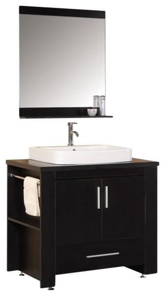 "Design Element Washington Espresso Modern Single Vessel Sink Vanity Set - 36"" modern-bathroom-vanities-and-sink-consoles"