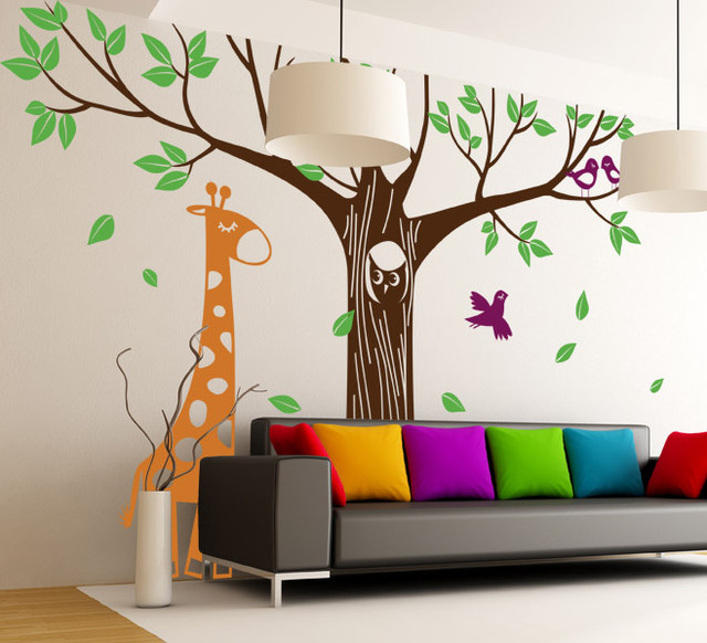 Giant Tree with Owl Giraffe and Birds contemporary-wall-decals