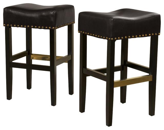 Carmen Backless Leather Bar Stool Set Of 2 Black