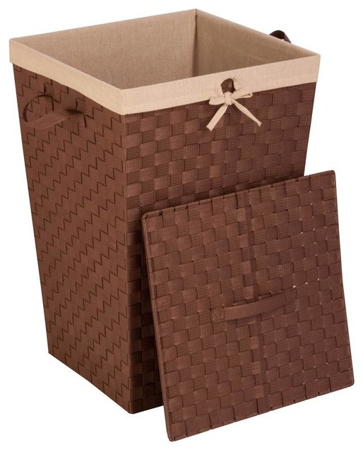 Woven Strap Hamper With Liner And Lid contemporary-hampers