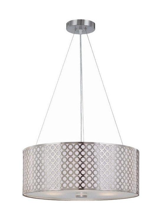 Joshua Marshal - Silver Contemporary Modern Three Light Down Lighting Pendant - Finish: Polished Silver