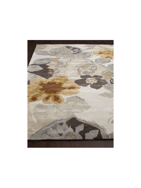 "Horchow - ""Platinum Leaf"" Rug - Inspired by bold ethnic textiles and the rich hues of Indian spices, this dramatic rug features an oversized floral motif that commands attention. Hand tufted of wool and ""art silk"" (viscose). Sizes are approximate. Imported. See our Rug Guide...."