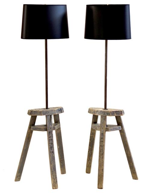 Pair of Antique French Plasterer's Trestles as Floor Lamps floor-lamps