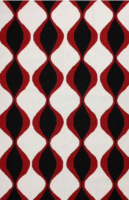 Contemporary Outdoor 5' x 8' Black Hand Hooked Area Rug Trellis NO9 Indoor Outdo contemporary-rugs