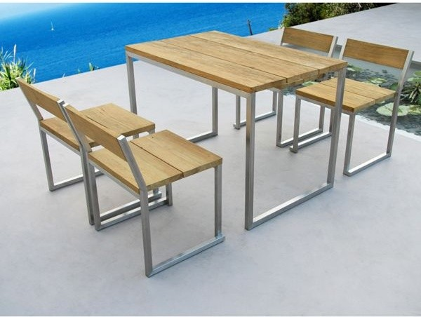 Recycled Teak Outdoor Dining Table and Chairs