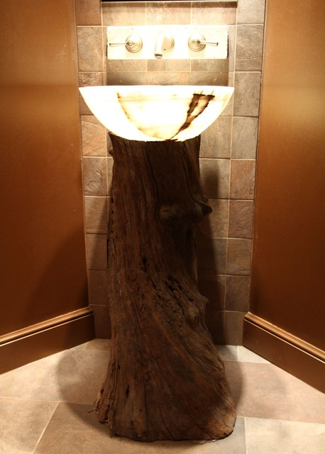 Reclaimed wood pedestal sink bathroom vanities and sink for Recycled bathroom sinks