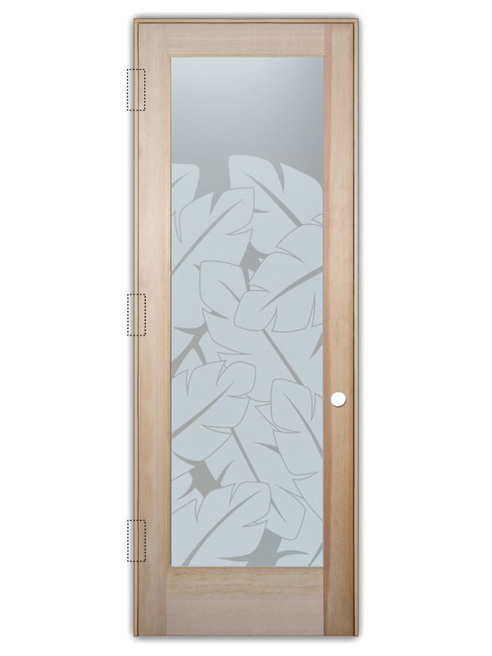 """Sans Soucie Art Glass (door frame material T.M. Cobb) - Interior Glass Door Sans Soucie Art Glass Banana Leaves Private - Sans Soucie Art Glass Interior Door with Sandblast Etched Glass Design. GET THE PRIVACY YOU NEED WITHOUT BLOCKING LIGHT, thru beautiful works of etched glass art by Sans Soucie!  THIS GLASS PROVIDES 100% OBSCURITY.  (Photo is View from OUTside the room.)  Door material will be unfinished, ready for paint or stain.  Satin Nickel Hinges. Available in other wood species, hinge finishes and sizes!  As book door or prehung, or even glass only!  1/8"""" thick Tempered Safety Glass.  Cleaning is the same as regular clear glass. Use glass cleaner and a soft cloth."""