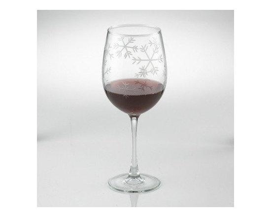 Etched Snowflake Stemmed Wine Glass (Set of 2) - - Dishwasher safe