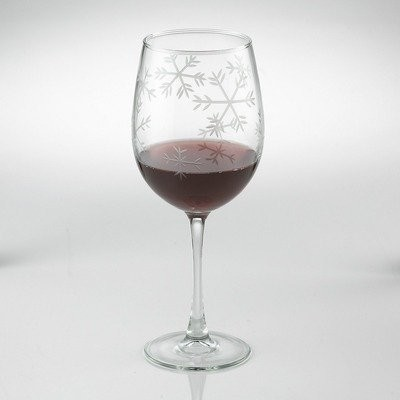 Etched Snowflake Stemmed Wine Glass (Set of 2) contemporary-wine-glasses