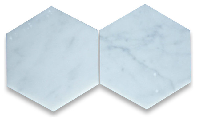 Carrara white 6 inch hexagon tile honed marble from italy wall and floor tile by stone for 1 inch hexagon floor tiles