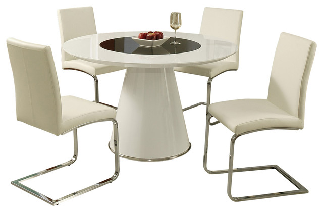 Pastel Taranto 5-Piece Black Glass Dining Room Set with Monaco Chairs traditional-dining-sets