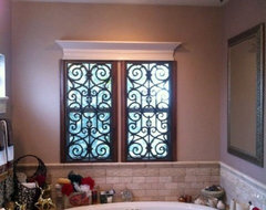 Beautiful faux iron installed with shutter frames for a finished look that's fun