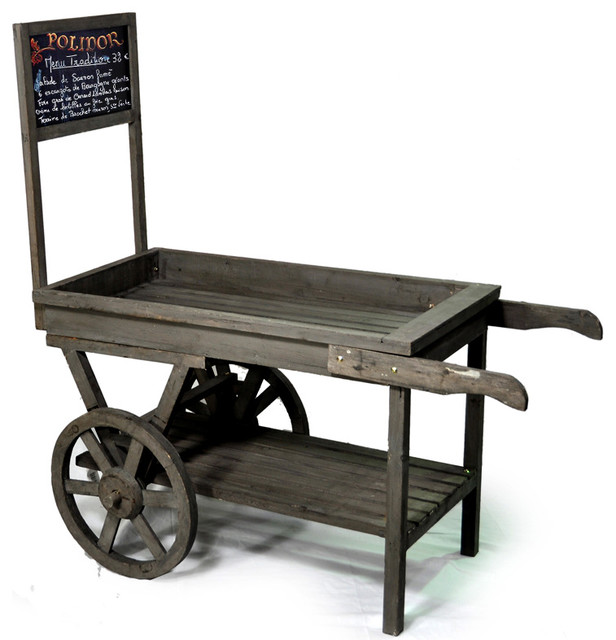 Wooden Retail Display Cart with Chalkboard - Contemporary - Bar Carts - by The Lucky Clover ...