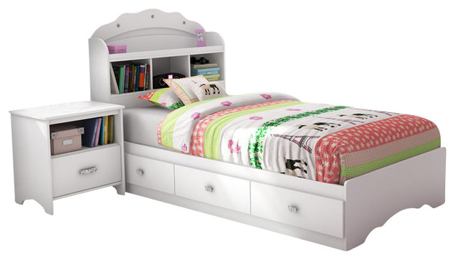South Shore Sabrina 3 Piece Twin Bookcase Bedroom Set in Pure White transitional-kids-bedroom-furniture-sets