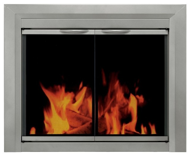Pleasant Hearth Colby Cabinet Fireplace Screen and Smoked Glass Doors - Sunlight modern-fireplaces
