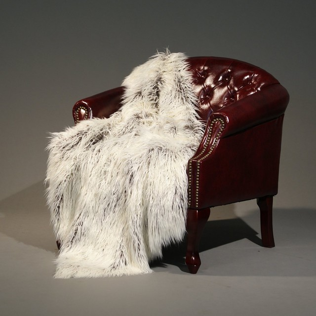 Tibetan Lamb Faux Fur Lap Throw Blanket contemporary throws