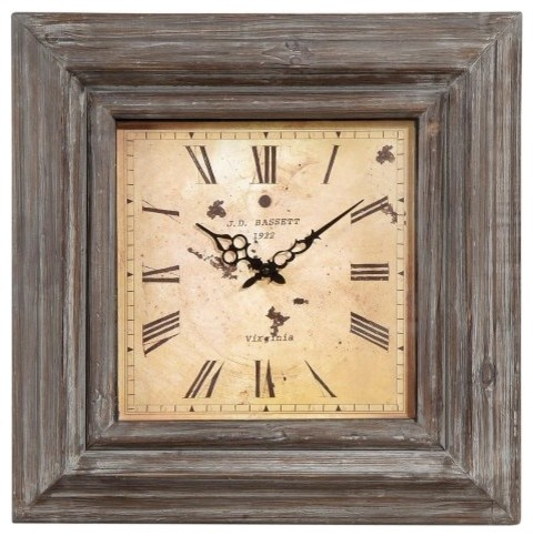 A perfect finishing touch for any rustic decor the Weathered Grey Rustic Large C traditional-clocks
