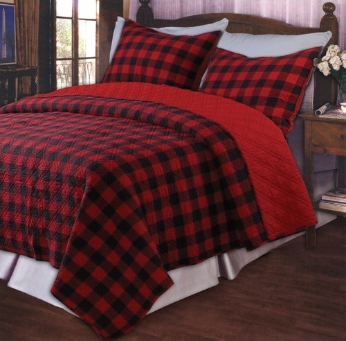Western Plaid Red Quilt Set modern-quilts