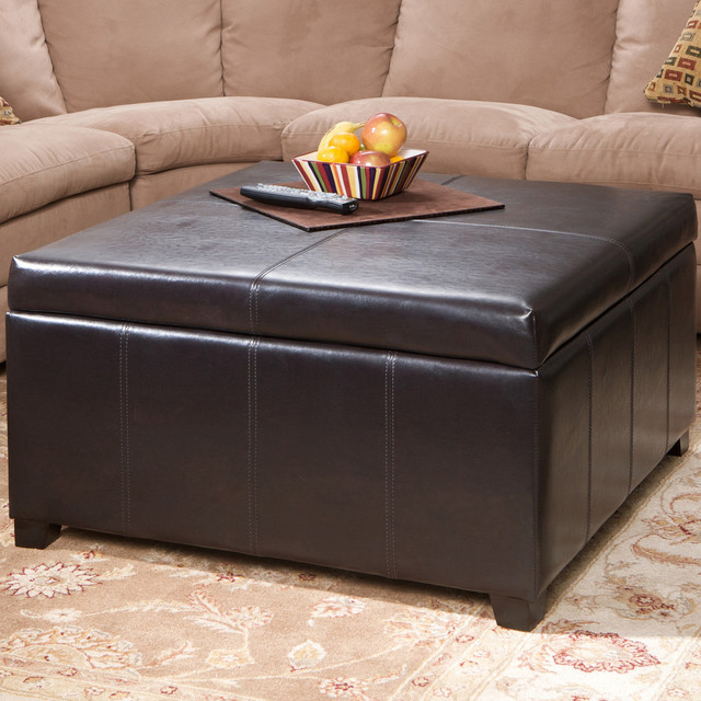 Berkeley Brown Leather Square Storage Ottoman Contemporary Footstools And Ottomans Los