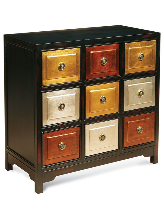 Bassett Mirror - Tic-Tac-Toe Accent Chest - Bring bold color and metallic accents to your home with the dynamic Tic-Tac-Toe Accent Chest. Its dark wood is offset by nine square-shaped drawers finished in bright silver, gold and brown rubs. Pair it with contemporary decor for a striking look.