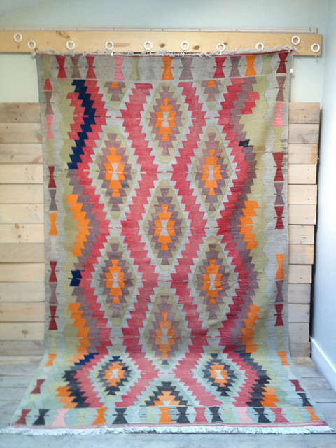 Vintage kilim rug with indigo accents by chez boh me for International home decor rugs