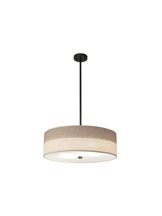 "Fabric Shade with Bronze 20"" Wide Pendant Light -"