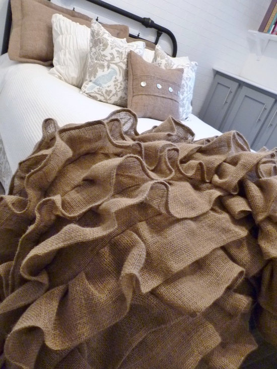 Home Decor Products - Burlap ruffled throw