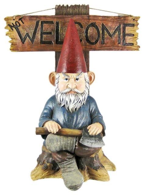 Go Away' Garden Gnome Un-Welcome Garden Statue contemporary-garden-statues-and-yard-art